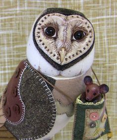 Barn owl Mixed Media sculpture by LisaPay on Etsy