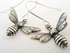 Bee Earrings Antiqued Silver Honeybee by TweeAccessories on Etsy