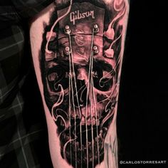 10 Guitar Tattoos That Rock Dad Tattoos, Music Tattoos, Skull Tattoos, Body Art Tattoos, Tattoos For Guys, Cool Tattoos, Rock Tattoo, Arm Tattoo, Music Tattoo Sleeves