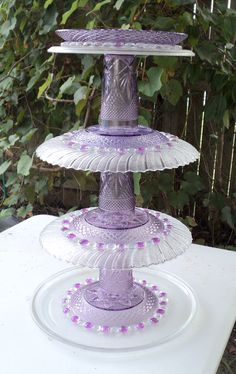 Glass Totem I love purple and when my sister asked if I wanted some purple dishes. I said absolutely,because I knew exactly what I was going to do with them.
