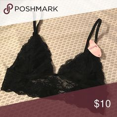 Lace Triangle Bralette Black, floral lace, triangle Bralette. New and never worn. Anemone Intimates & Sleepwear Bras