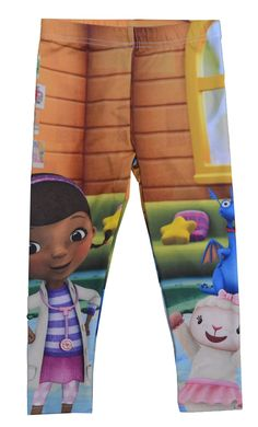Disney Junior Doc McStuffins Toddler Girls Leggings (4T). Disney Junior Doc McStuffins Leggings. Elastic waist multi-color leggings. Bottom: 95% Polyester 5% Spandex. Authentic Disney Licensed products. Machine wash cold with like colors.