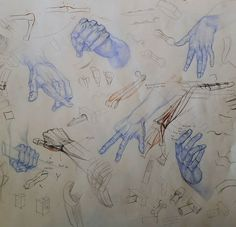 """My friend and student Jon Marshall brought in a great set of hand studies after various masters. We talked about various difficult spots including the knuckles and the """"snuff box"""". Jon's drawings are in blue, my notes are in red and black. Old Head, Art Tutorials, Anatomy, Bring It On, Study, Friends, Drawings, Masters, Instagram"""