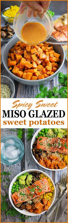 Sweet and Spicy Miso Glazed Sweet Potatoes perfect for pair with chickpeas and spinach for weekend dining or as is for a holiday side!  #sponsored #HelloSprouts @Sproutsfm