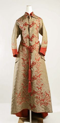 Dressing Gown: ca. early 1880's, American or European, quilted silk, embroidered.