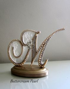 Initial M Wedding Cake Topper/ Rose Gold Ivory by ButtercreamPearl