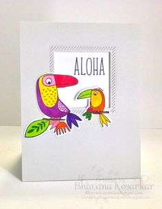 blending art and craft:  I used MFT bird of paradise stamp set and coordinating die. Used copic markers for coloring.