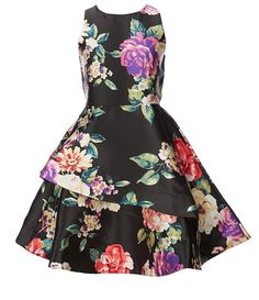 7e1ee3ae0f3 Rare Editions Big Girls 7-16 Floral Asymmetrical-Hem Fit-And-Flare Dress
