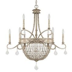 Capital Lighting Dutchess Collection 9-light Painted Silver Quartz Chandelier Light
