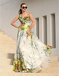 Formal+Evening+Dress+-+Elegant+/+Floral+A-line+Straps+Floor-length+Chiffon+with+Criss+Cross+–+USD+$+79.99