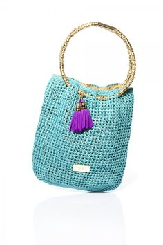 Turquoise Tote Beach Bag by Caffé