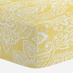 Carousel Designs Banana Yellow Vintage Damask Crib Sheet - Organic 100% Cotton Fitted Crib Sheet - Made in the USA