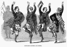 HIGHLAND DANCERS, 1844. Wood engraving, English, 1844