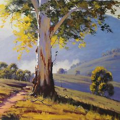 Hilly Australian Landscape Art Print by Graham Gercken Watercolor Landscape, Landscape Art, Landscape Paintings, Watercolor Paintings, Watercolor Flowers, Contemporary Landscape, Watercolour, Pastel Art, Australian Artists
