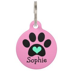 Shop Black Pawprint with Blue Heart Custom Pet Tag created by AugieDoggyStore. Pet Name Tags, Pet Id Tags, Dog Tags, Custom Pet Tags, Gifts For Pet Lovers, Pet Names, Personalized Products, Dog Accessories, Pawprint