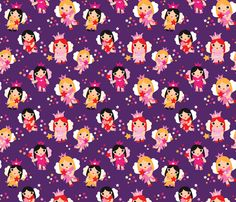 Girls fairy princess sparkle pattern fabric by littlesmilemakers on Spoonflower - custom fabric