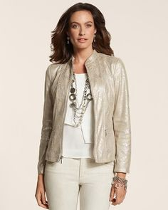 Chico's Python Faux-Leather Moto Jacket #chicos