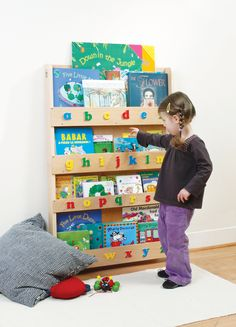 Amazon.com : The Original Wooden Front-Facing Kids Bookcase and Book Display with 3D Alphabet : Book Shelves For Kids : Baby