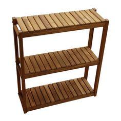 powder room | Teakworks4u Three Tiered Teak Shelf | $208