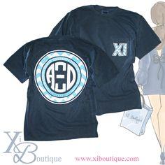 Chevron Xi Monogram Pocket T!! Brand new Alpha Xi Delta shirt at the Xi Boutique!