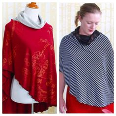 The perfect spring cover-up, my Cardinal Cloak in print or stripe at Jennythreads.etsy.com. coupon code SHIPHANDMADE for free USA shipping #arttowear #poncho #slowfashion #madeinthesouth