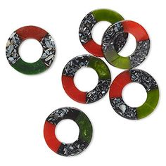 Bead mix, mother-of-pearl shell (assembled) and resin, red / black / green, donut with center opening and hole, Mohs hardness Sold per pkg of Free Items, Red Black, Resin, Shells, Bead, Pearls, Products, Seashells, Pony Beads