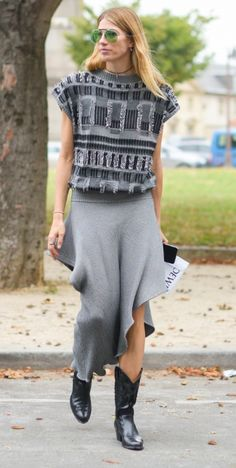 The Vogue Edit. Veronika Heilbrunner. Street style - The zigzag hemline is Vogue approved.