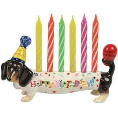 Happy Birthday Dachshund Candle Cake Topper! Ohhhh and my birthday is coming up! Lol.