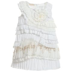 I Pinco Pallino girls short sleeve cotton blend dress that is made from multiple layers of white and ivory fabric, some frilled and others pleated in asymetric layers. There is tulle and gold embroidery with a floral motif on the neckline and a concealed zip at the back to ease dressing. The design is fully lined in soft cotton for comfort.