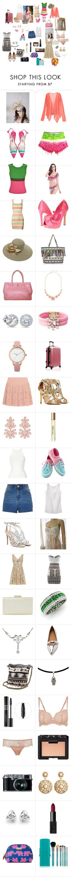 """The Getaway"" by bekkibue ❤ liked on Polyvore featuring Calypso St. Barth, Sophia Webster, Issey Miyake, Versace, rsvp, Swan, New Look, Bliss Diamond, Shourouk and Oasis"