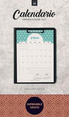 No te pierdas los calendarios organizadores 2017 - ES GRATIS! Incluye 12 calendarios mensuales A4 en archivo PDF.