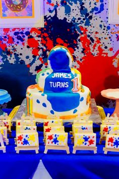James' Art Attack / Painting Themed Party – Cake Craft Party, Party Cakes, Party Themes, Arts And Crafts, Birthday Cake, Painting, Cookies, Shower Cakes, Crack Crackers