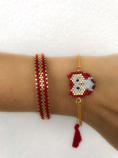 Miyuki beaded red owl bracelet set, unique, stylish, animal bracelet, designed bracelet, chic bracel