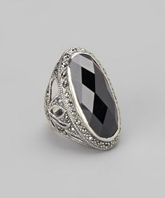 Another great find on #zulily! White Gold Oval Onyx Cocktail Ring #zulilyfinds