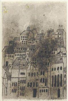 Ben Shahn - cityscape Ben Shahn, Social Realism, A Series Of Unfortunate Events, American Artists, Creative Art, Illustrators, Illustration Art, Vintage Illustrations, Home Art