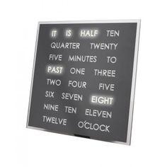 Op de LED Word Clock geen cijfers of wijzers die de tijd aangeven, maar woorden! Deze moderne klok vertelt in woorden hoe laat het is. Dus als het 11:40 uur is, zal de Word Clock in woorden aangeven: 'It is twenty to twelve'. De woorden lichten in prachtig helder wit LED licht op. De Word Clock kan worden opgehangen of neergezet als staande klok.