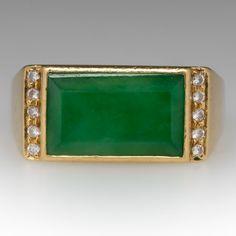Vintage Mens Jade & Diamond Ring 18K Yellow Gold