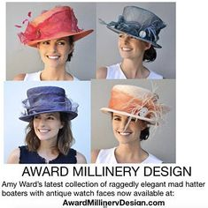 Mad Hatter Boaters Playful and Unique Spring Hats, Summer Hats, Hats For Women, Ladies Hats, Horse Race Hats, Wedding Hats For Guests, Kate Middleton Hats, Women's Hats, Cloche Hats