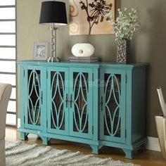 Teal Blue Accent Cabinet.... I want this in the kitchen