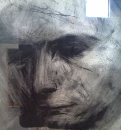 Drawing by Frank Auerbach, + reflective glass….