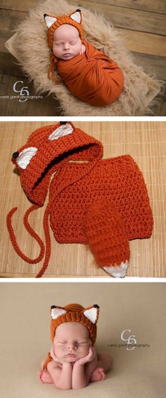 Adorable Crochet Baby Fox Hat - Baby Shower Gift - Woodland Baby Newborn Photography Outfit - By SweetnessInSmyrna #ad