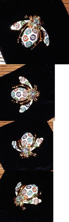 Pins and Brooches 50677: Joan Rivers Bee Pin Brooch New Gold Evil Eye Colored Circles BUY IT NOW ONLY: $53.88