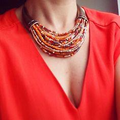 Mon collier MALINKA #franckherval  #orange #bijoux  #mode #jewels #france…