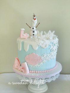 birthday cake ~ Frozen cake ~ Olaf Frozen cake ~ Olaf fondant figure ~ A sweetest delight Olaf Birthday Cake, Frozen Themed Birthday Cake, Disney Themed Cakes, Elsa Birthday, Girl 2nd Birthday, Disney Cakes, Olaf Frozen Cake, Olaf Cake, Disney Frozen