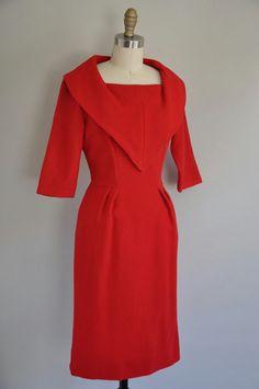 vintage 50s red hot wiggle dres
