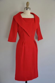 1950's red cocktail dress ~