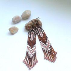 Long indian style beads earrings Green earrings Boho от Galiga