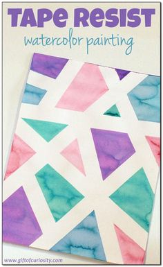 Tape resist watercolor painting - a fun art project for young kids! || Gift of Curiosity
