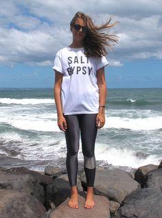 GUNMETAL SURF LEGGINGS - SINGLE LEG by Salt Gypsy. Sleek, minimalist, and better than melanoma.   SHOP YOURS $79 AUD #saltgypsy #surfleggings #styleinthelineup