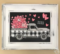 chalk couture Aiden chalkboard with vintage truck design. The winter and spring add on was used as well as fresh linen, white, and coral chalk paste. My Funny Valentine, Valentines Day Decorations, Valentine Day Crafts, Chalk Crafts, Diy Crafts, Chalk Design, Michaels Craft, Chalkboard Art, Valentine's Day Diy